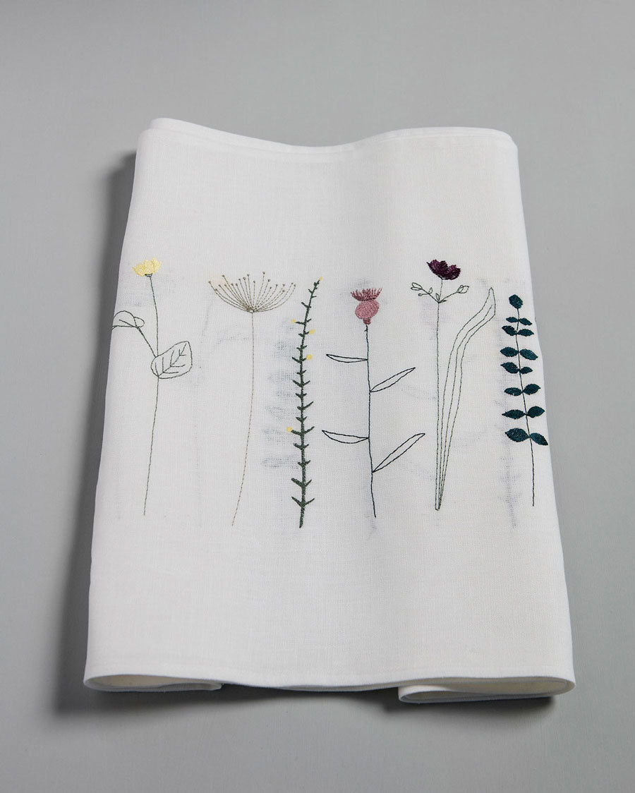 'Irish Wildflower' Irish Linen Table Runner earth colour