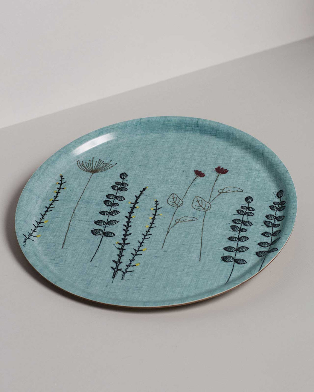 'Irish Wildflower' Embroidered Irish Linen Tray Blue 31cm