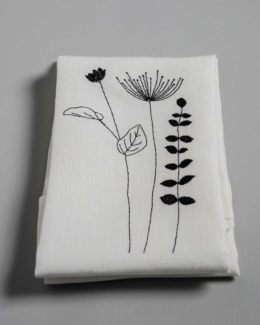 'Irish Wildflower' Irish Linen napkins x12 black