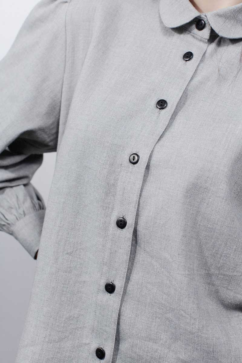 'Floral Lines' Embroidered Irish Linen & Wool Shirt in Grey