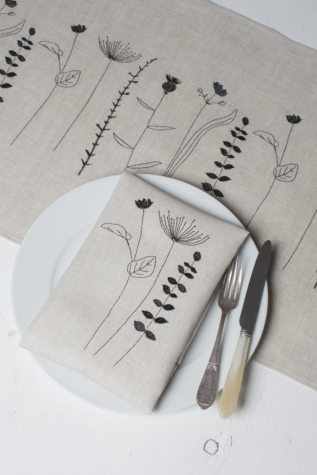 'Irish Wildflower' Irish Linen Table Runner