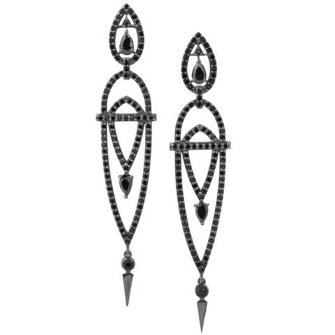 Art Deco Tulipe Earrings - Black