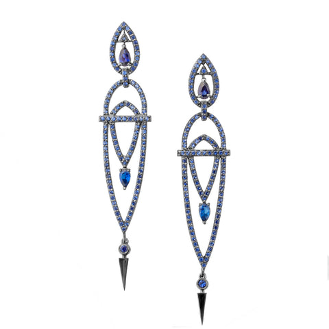 Art Deco Tulipe Earrings - Blue