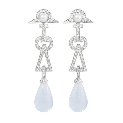 Art Deco Earrings - Opaque
