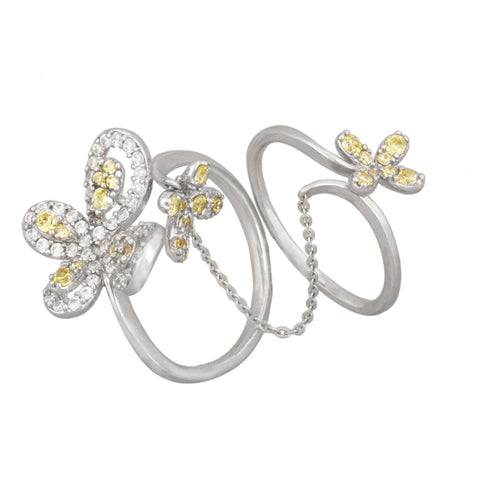 Butterfly and Flower Double Ring