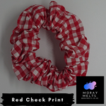 Red Gingham/Check Print Hair Scrunchie