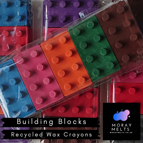 Building Block Shape Recycled Wax Crayons - 5 Pack
