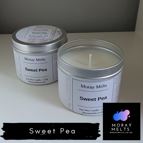 Sweet Pea Scented Candle Tin - 175g or 75g