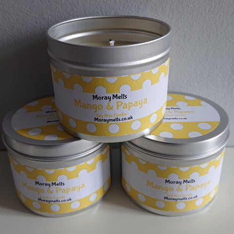 Mango & Papaya Scented Candle Tin - 175g