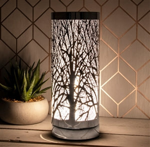 White And Silver Touch Sensitive Aroma Lamp 26cm - Moray Melts