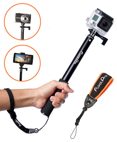3-in-1 GoPro Waterpoof Monopod. Floating & Extendable Selfie Stick Bundle