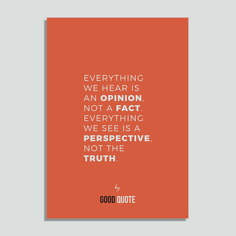 Everything we hear is an opinion not a fact. Everything we see is a perspective not the truth - Poster