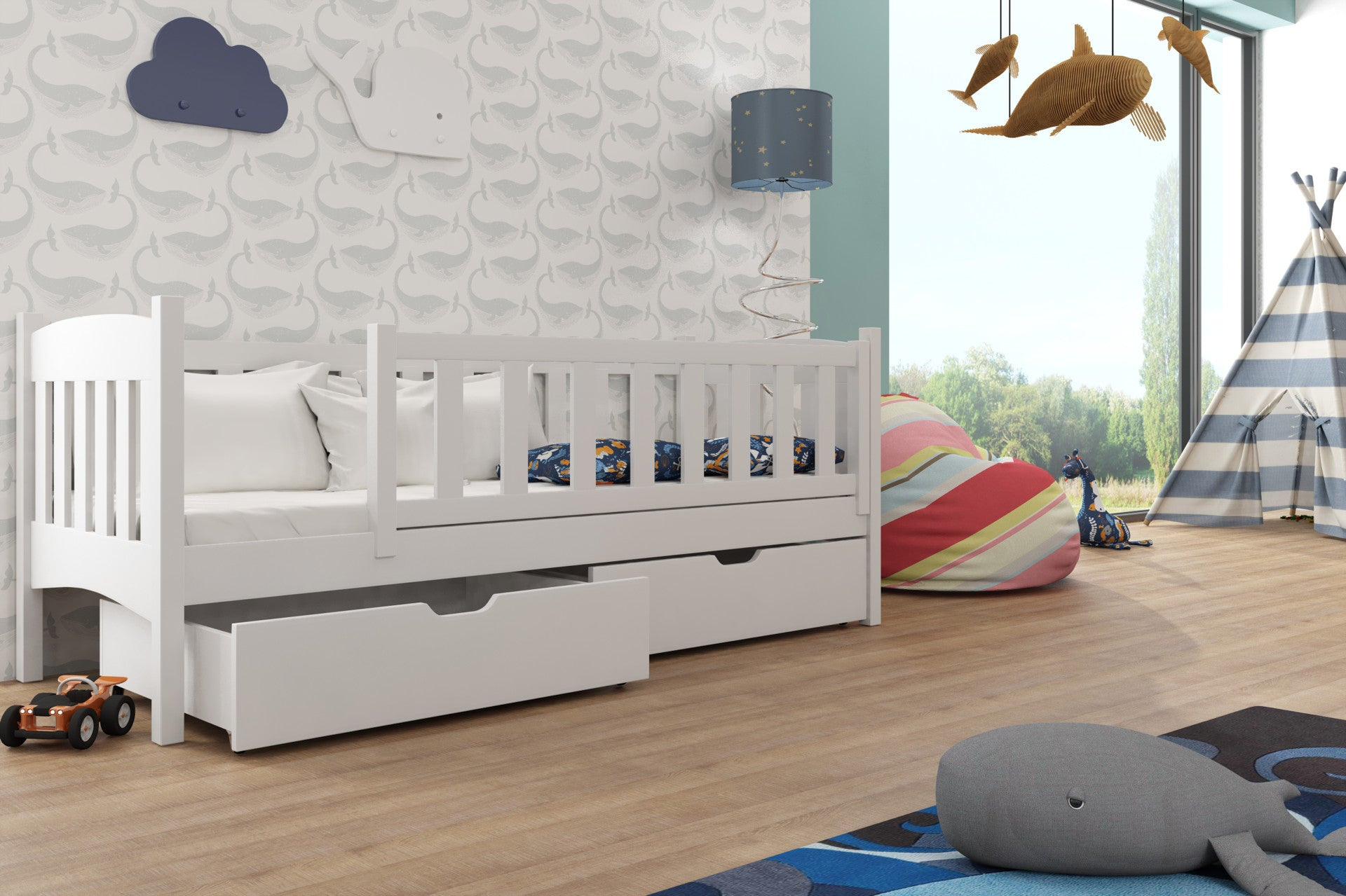 Brand New Kids Children Wooden Bed With Storage Drawers
