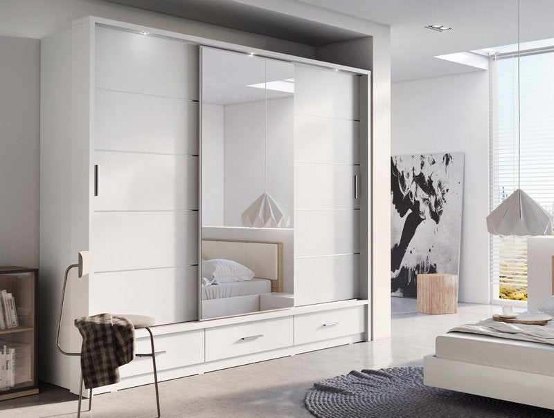 bedroom sliding door wardrobe arti 1 250cm in matt white mirror ebay