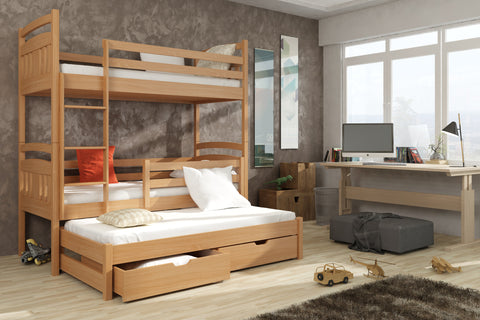 WOODEN BUNK BED WITH TRUNDLE BED AND STORAGE IGOR