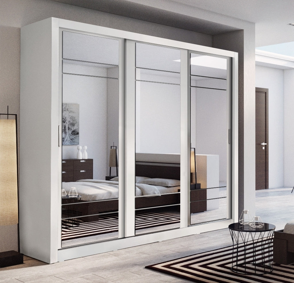 modern bedroom 3 sliding door mirror wardrobe arti 2 250cm white matt