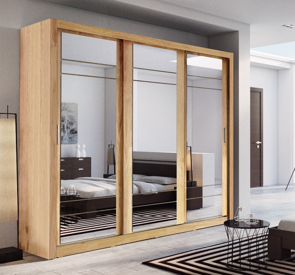 bedroom sliding door mirror wardrobe arti 2 250cm oak shetland ebay
