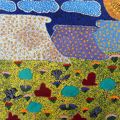 Dot Painting by Nikita Inkamala depicting Ntaria (Hermannsburg)