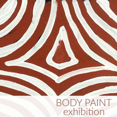 Body Paint. An Aboriginal art exhibition featuring paintings by Queenie Lion Kemarre, Gloria Petyarre and more.