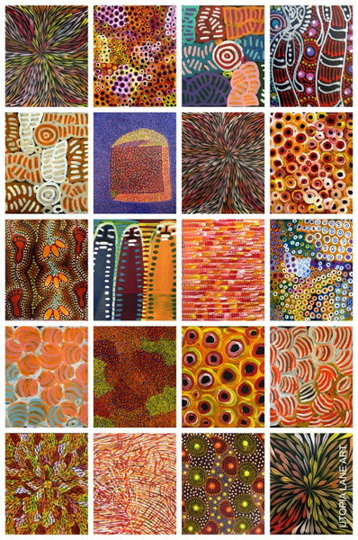 collage of orange paintings