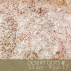 Desert Dots II exhibition featuring Aboriginal paintings by Polly Ngale, Kathleen Ngale and Elizabeth Mpetyane
