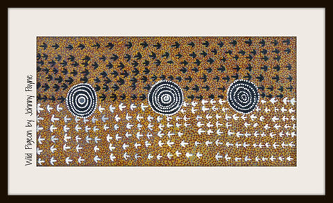 Traditional pieces such as this 90cm x 45cm panel by the late Harold Payne also tell specific stories with their symbolism. Painted by Ilkawerne elder, this piece denotes wild pigeon tracks; white arrows are the pigeons walking on the sand and black ones are dried bush plums that have fallen from trees nearby Aremela, a sacred rock hole. What makes this piece extra special is its imperfections.
