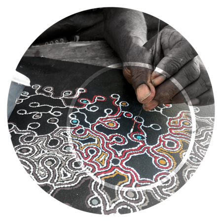 Circle image of Julie Pengarte's hand painting dots with fine metal instrument