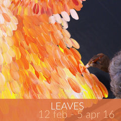 Leaves exhibition featuring paintings by Gloria Petyarre