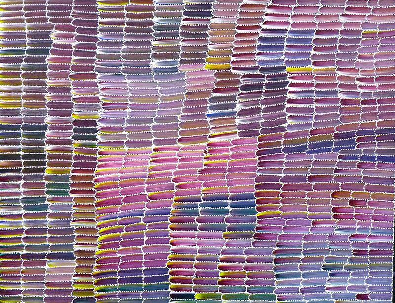 Vibrant magenta and blue Desert Yam painting by Jeannie Mills Pwerle, 120cm x 90cm