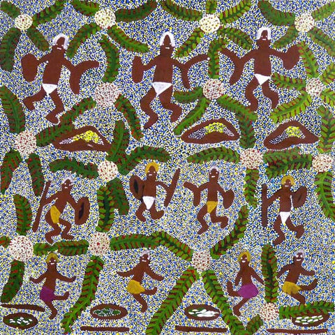 Traditional aboriginal art primitive bush tucker scene