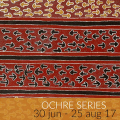 Ochre Series exhibition featuring Aboriginal paintings by Lindsay Bird, Ada Bird Petyarre, Barbara Weir, and symbols paintings.