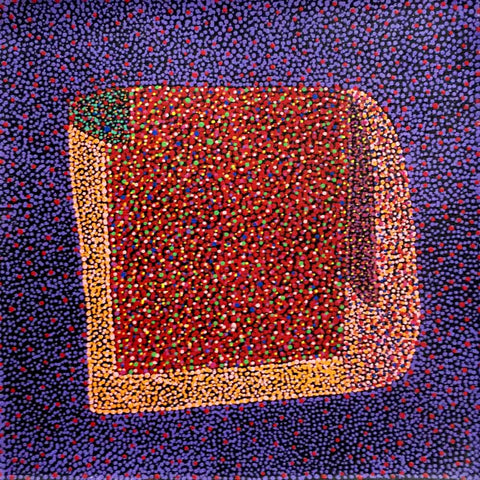Small purple and orange Bush Plum painting by Josie Petrick Kemarre, 30cm x 30cm