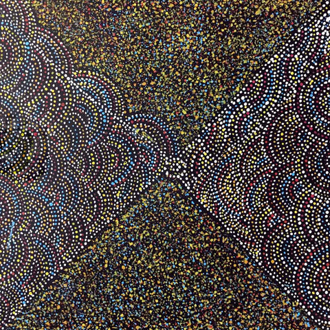 Small dotted Aboriginal painting by Cowboy Loy, 30cm x 30cm