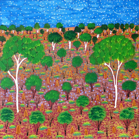 Brightly coloured desert landscape painting by Selina Teece. My Country.