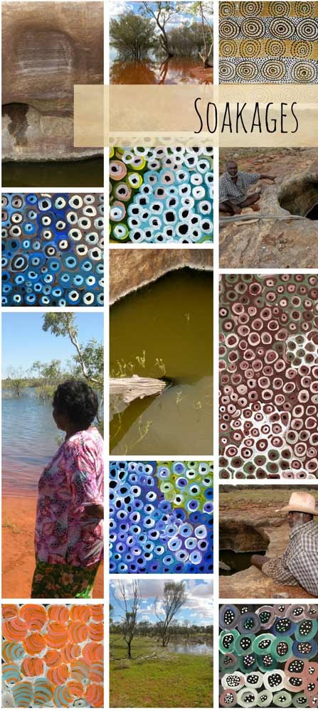 Soakages in Aboriginal Art - www.utopialaneart.com.au #aboriginalart #soakages #utopialaneart #waterholes