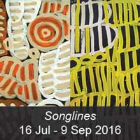 Songlines Exhibition featuring Minnie Pwerle and Betty Mbitjana's work