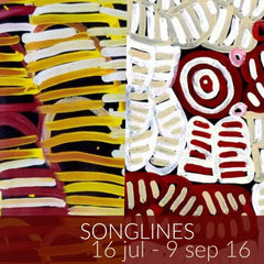 Songlines exhibition featuring Minnie Pwerle and Betty Mbitjana paintings