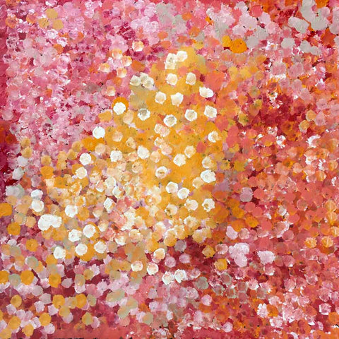 Large yellow, red, pink and orange dot painting by Polly Ngale. Women of Influence exhibition.