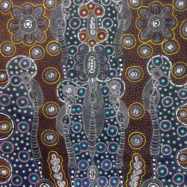 Dreamtime Sisters by Colleen Wallace Nungari | 90cm x 90cm | Synthetic polymer paint on canvas