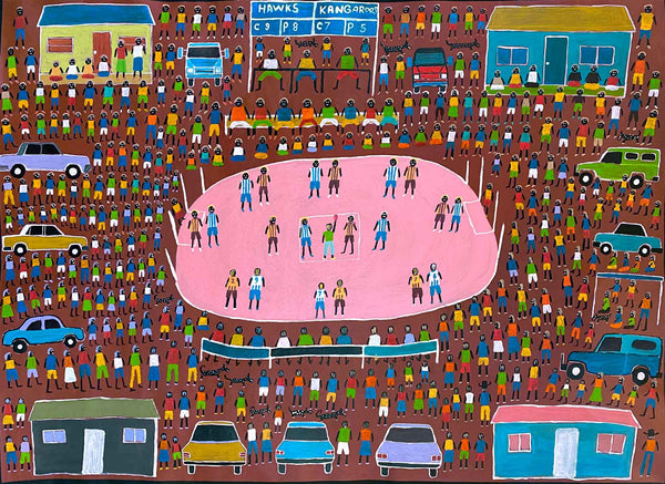 Image of a 120cm x 90cm naive Bush Football painting by Dinny Kunoth. The background colour is red ochre and the football ground in the centre is painted in bright pink.