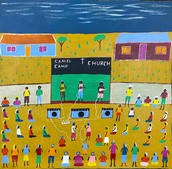 Square image of Church painting by Josie Kunoth. The church is outdoors, with three people playing in a rock band on stage, a green background, blue sky, two buildings in background, people gathered, and two women singing beneath the stage.