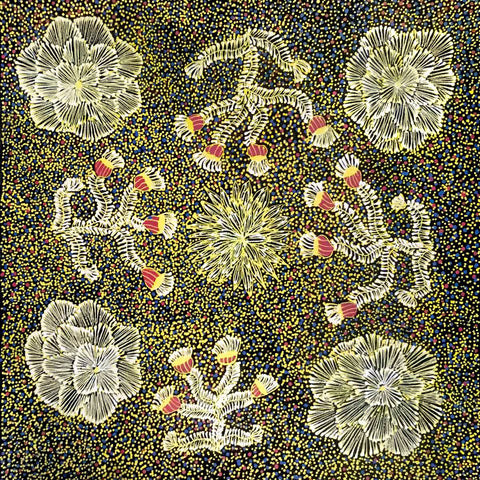 Yellow painting by Aboriginal artist Rhonda Jones depicting flowers of the Red Mallee