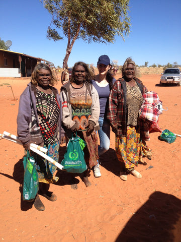 Dale Jennings of Utopia Lane Art with aboriginal artists of Utopia