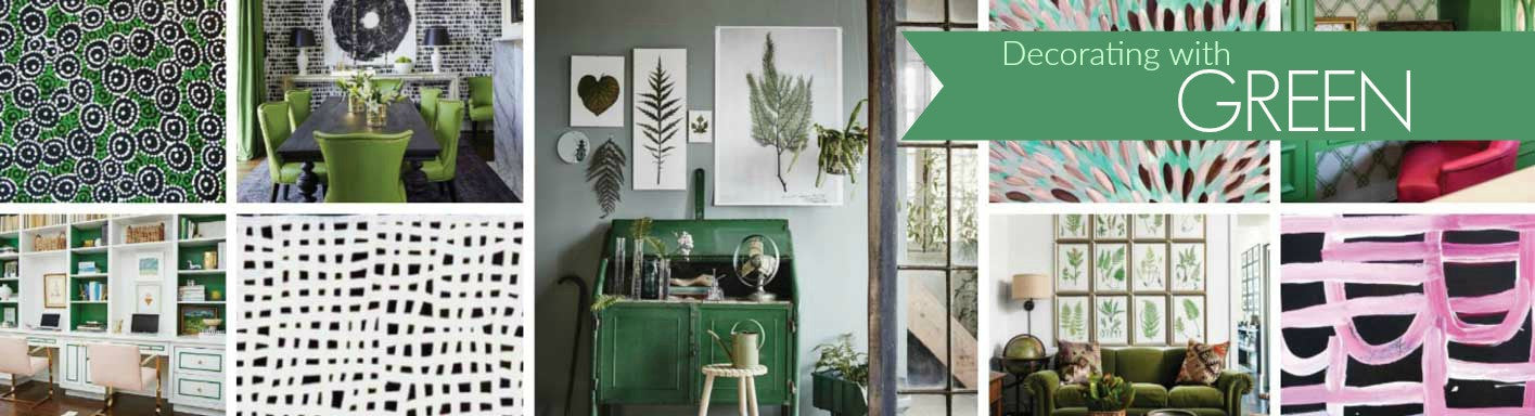 Collage of images for decorating with green