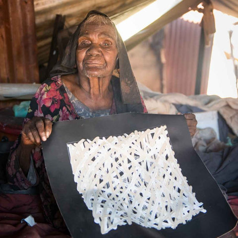Aboriginal artist Molly Pwerle, aged in her 90's