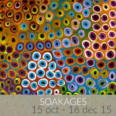 Soakages exhibition featuring Lena Pwerle paintings
