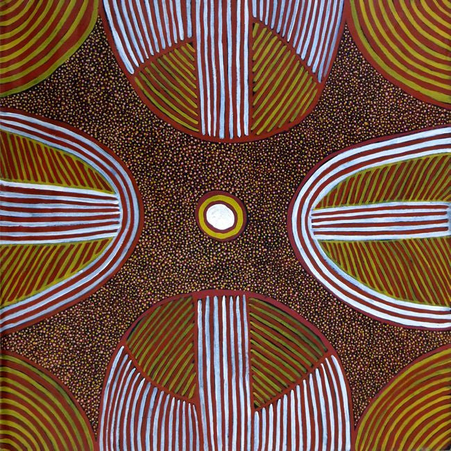 Aboriginal dot painting by Ada Bird Petyarre. Learn more at Utopia Lane.