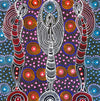 Dreamtime Sisters by Colleen Wallace Nungari (SOLD), 30cm x 30cm. Aboriginal Painting. #AboriginalArt #UtopiaLane