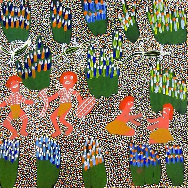 Aboriginal People Collecting Bush Tucker by Katie Kemarre, 30cm x 30cm. Aboriginal Painting. #AboriginalArt #UtopiaLane