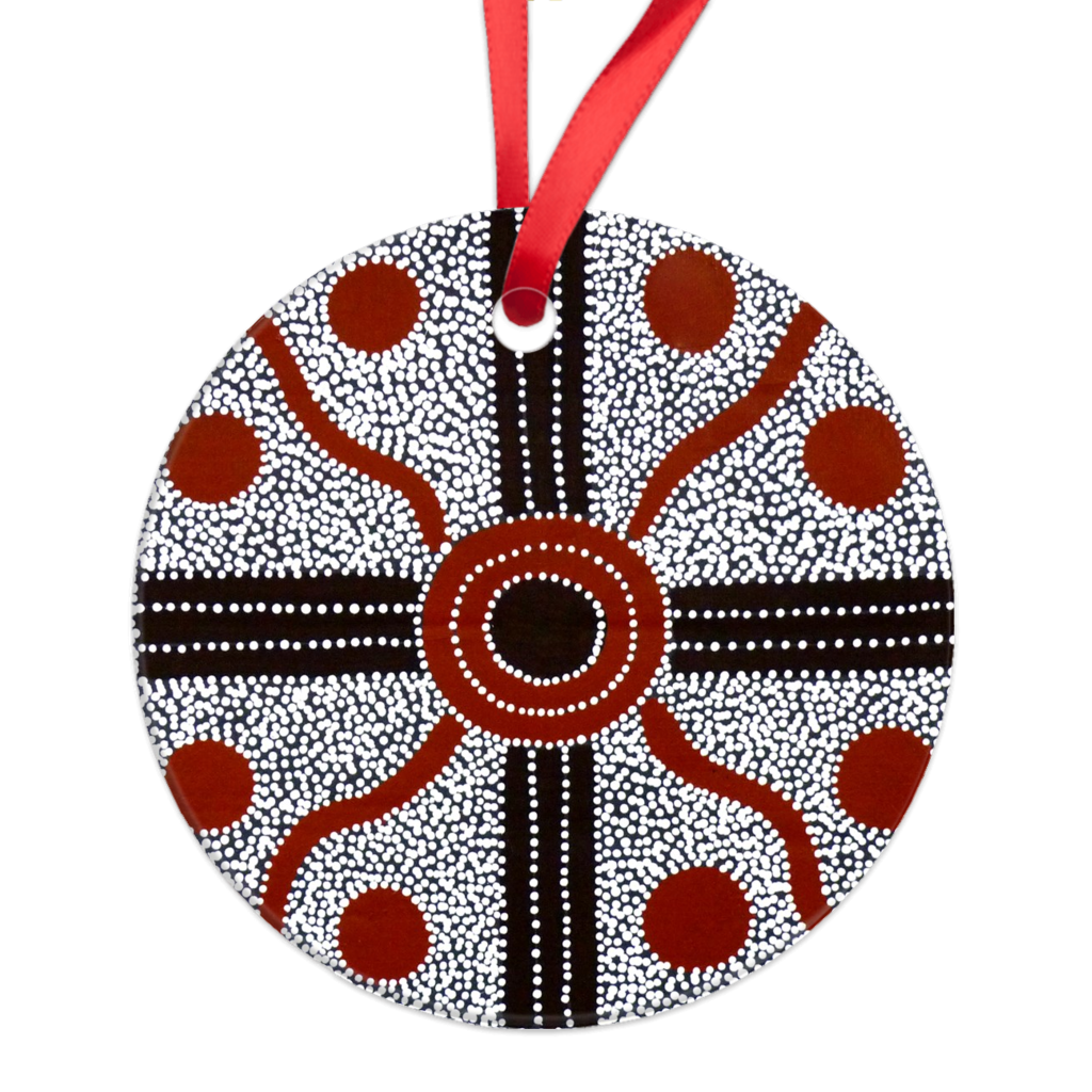Charcoal Lindsay Round Ornament-by-Desert Doll Designs-Ornament-at-Utopia-Lane-Gallery #AboriginalArt #Desert Doll Designs